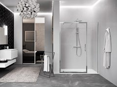 NOVELLINI, KUADRA 2.0 G+F IN LINEA Box doccia a nicchia con porta pivotante e fisso in linea