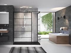 NOVELLINI, KUADRA H SQUARES/STRIPES Parete fissa in alluminio e vetro temprato
