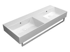 Lavabo da appoggio doppio in ceramica con porta asciugamaniKUBE X 120X47 DB   Lavabo - GSI CERAMICA