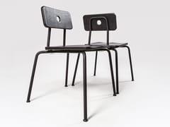 Sedia impilabile laccata in acciaio e legnoMILNE | Sedia laccata - LIQUI CONTRACTS