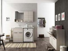 LEGNOBAGNO, LAVANDERIA 8 Mobile lavanderia componibile con ante a battente con lavatoio