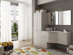 LEGNOBAGNO, LAVANDERIA 9 Mobile lavanderia con ante a battente con lavatoio