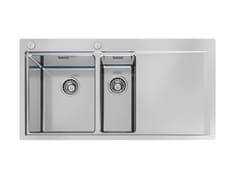 Lavello a una vasca e mezzo filo top in acciaio inox con gocciolatoioMASTER 2VDX/SX 34+18 FT TPR - FOSTER