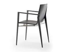 Sedia imbottita in pelle con braccioli TENDO | Sedia in pelle - Tendo