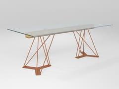 Tavolo rettangolare in cristallo e ferroLEON | Tavolo in cristallo - BAREL