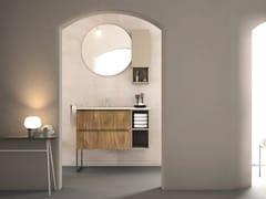 Mobile lavabo sospeso in rovere con porta asciugamaniLINEA LN05 - ARTEBA