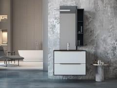 Mobile lavabo singolo sospeso in legno in stile moderno con specchioLINEA LN16 - ARTEBA