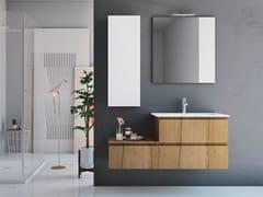 Mobile lavabo singolo sospeso in rovere con cassettiLINEA LN17 - ARTEBA