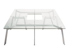 Tavolo in acciaio e vetro LINK | Tavolo -