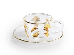 Tazza da caffè in vetro borosilicato con piattinoLIPSTICKS | Tazza - SELETTI