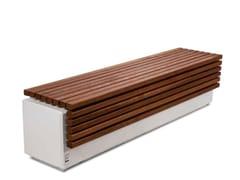 Panchina senza schienale in legno e calcestruzzo armatoLITHOS WOOD   Panchina senza schienale - CALZOLARI