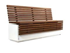 Panchina con schienale in legno e calcestruzzo armatoLITHOS WOOD   Panchina con schienale - CALZOLARI
