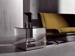 Tavolino quadrato in acciaio inox e cristalloLITT | Tavolino quadrato - ACERBIS BY MDF ITALIA