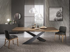 Tavolo da pranzo rettangolare in legno LIVING - GRAFITE & NOCE CANALETTO - Living
