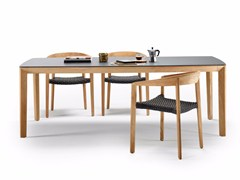 Tavolo da pranzo rettangolare in ceramica e teak LODGE | Tavolo in ceramica - Lodge