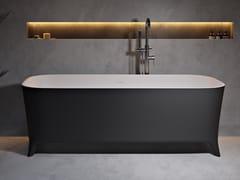 Vasca da bagno rettangolare in Solid Surface su piediLOFTY BLACK & WHITE - RILUXA