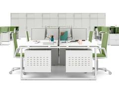 Postazione di lavoro con pannelli divisori con scaffale integratoLOOPY | Postazione di lavoro con pannelli divisori - BRALCO