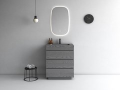 Mobile lavabo da terra singolo in poliuretano con cassettiMAKING | Mobile lavabo singolo - FIORA
