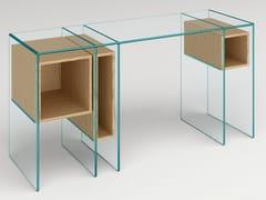 Scrivania rettangolare in legno e vetro con scaffaliMARCELL - T.D. TONELLI DESIGN