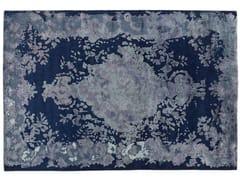 Tappeto fatto a mano rettangolare in lana e seta MARIE ANTOINETTE DARK BLUE - Memories