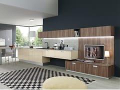 Cucina componibile in laminato con penisola MARINA 3.0 | Cucina con maniglie integrate -