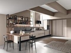 Cucina componibile in laminato con penisola MARINA 3.0 | Cucina con maniglie -