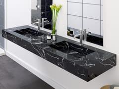 Lavabo doppio in marmo Nero Marquina con piano MARQUINA C2 | Lavabo doppio -