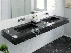 Lavabo doppio in marmo Nero Marquina con piano MARQUINA C1 | Lavabo doppio -