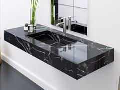 Lavabo singolo in marmo Nero Marquina con piano MARQUINA C2 | Lavabo singolo -