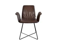 Sedia imbottita con braccioli e base a croce in metalloMAVERICK CASUAL   Sedia in pelle - KFF GMBH & CO. KG