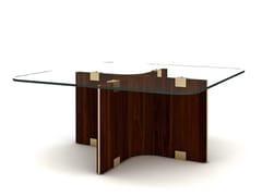 Tavolino quadrato in legno e vetro MAXIME | Tavolino quadrato - Maxime