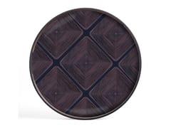 Vassoio rotondo in legno e vetroMIDNIGHT LINEAR SQUARES - ROUND S - ETHNICRAFT