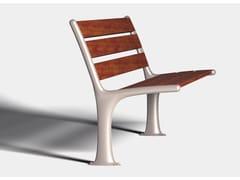 ALURE, MINIMAL Panca da giardino in alluminio e legno con schienale