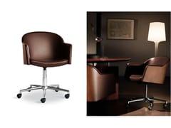 Sedia ufficio operativa in pelle con braccioli con ruote MIRAGE | Sedia ufficio operativa - Mirage