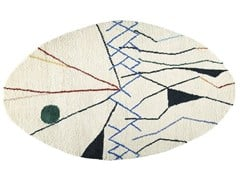 Tappeto ovale in lana a motivi geometrici MOBILE | Tappeto ovale - The Designers