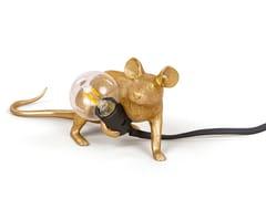 Lampada da tavolo a LED in resinaMOUSE LAMP GOLD - LOP - SELETTI