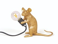 Lampada da tavolo a LED in resinaMOUSE LAMP GOLD - MAC - SELETTI