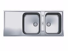 Lavello a 2 vasche in acciaio inox con sgocciolatoio MRX 221 - Maris