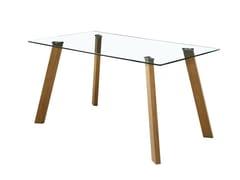 Tavolo  con piano in vetro temperato e gambe in metalloMV06 | Tavolo - TIANJIN K&J INTERNATIONAL TRADE CO.