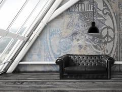 Carta da parati effetto muro in fibra di vetro con scritteNASHVILLE - TECNOGRAFICA