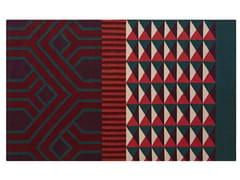 Tappeto rettangolare in lana a motivi geometriciNDEBELE RED - GAN BY GANDIA BLASCO