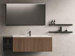 Mobile lavabo sospeso in legno impiallacciato con specchio NEROLAB | Mobile lavabo con specchio - Nerolab