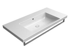 Lavabo rettangolare singolo in ceramica con porta asciugamaniNORM 100X50 | Lavabo - GSI CERAMICA