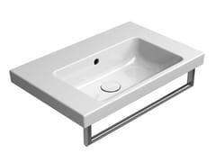 Lavabo rettangolare singolo in ceramica con porta asciugamaniNORM 60X40 | Lavabo - GSI CERAMICA