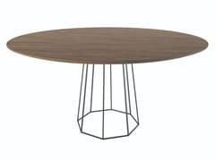 Tavolo rotondo in legno impiallacciato con base in metallo OCTO | Tavolo in metallo -