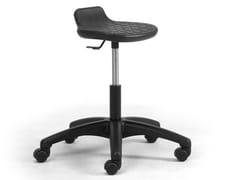 Sgabello da ufficio ad altezza regolabile in poliuretano con ruoteOFFICIA | Sgabello da ufficio con ruote - LEYFORM