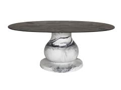 Tavolo ovale con base in polietilene effetto marmo e HPLOTTOCENTO | Tavolo ovale - SLIDE