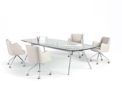 Tavolo da riunione rettangolare in vetro P016 | Tavolo da riunione in vetro - P016