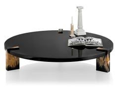 Tavolino basso rotondo in legno con basi in cornoPAESTUM 1502 - ARCAHORN