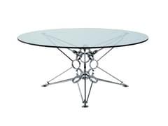 Tavolino alto rotondo in acciaio e vetroPI6 - ROCHE BOBOIS